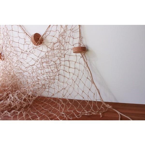 Dekonetz aus der Naturfaser Jute, in hellbraun, 3 m x 2 m, mit Naturkorken