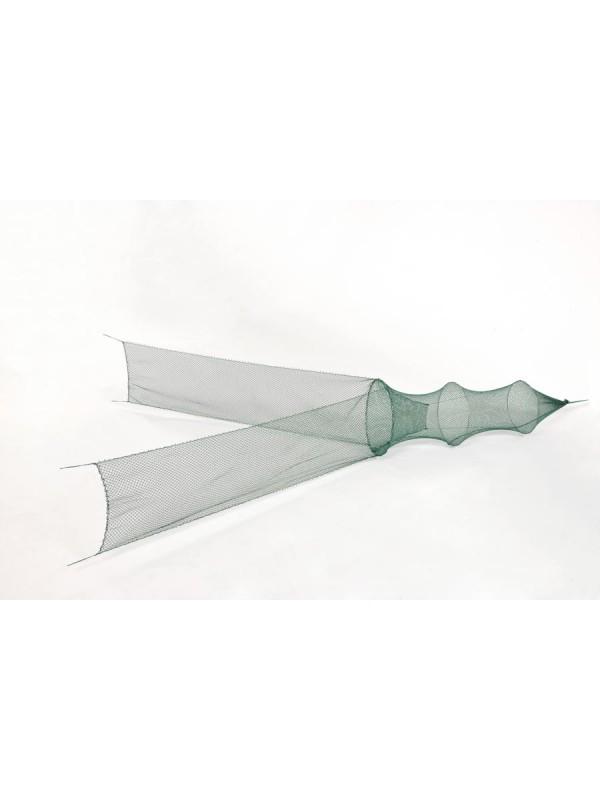Flügelreuse 1. Reifen 75 cm Ø, 15 mm Maschenweite, 2 Flügel je 1,50 m lang