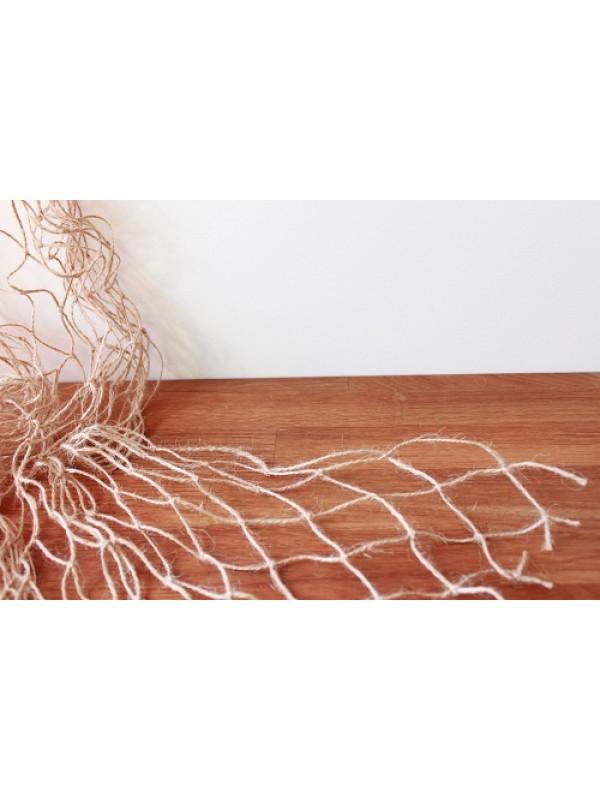 Dekonetz aus der Naturfaser Jute, in hellbraun, 2 m breit, 35 mm Maschenweite