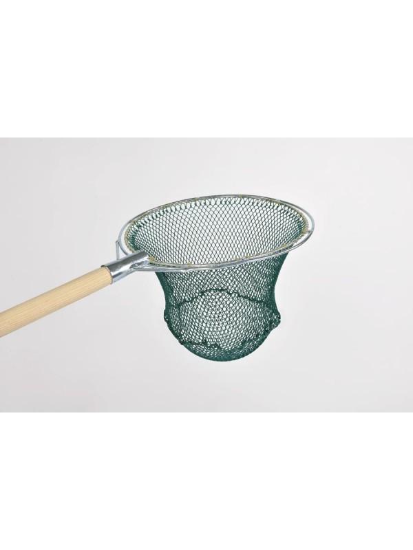 Reformkescherbügel kompl. mit Netz, rund, 30 cm Durchmesser, ca. 30 cm Netztiefe, 10 mm Maschenweite, aus Polyamid (Nylon) 210/24, Bügel aus verzinktem Stahl.