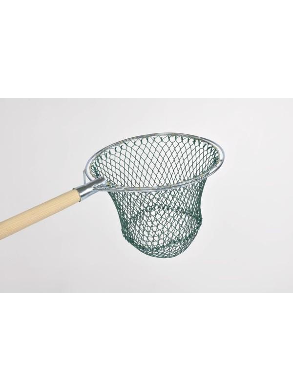 Reformkescherbügel kompl. mit Netz, rund, 30 cm Durchmesser, ca. 30 cm Netztiefe, 20 mm Maschenweite, aus Polyamid (Nylon) 210/48, Bügel aus verzinktem Stahl.