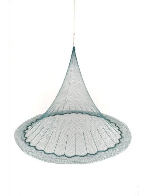 Wurfnetz aus Polyamid (Nylon)  6 m Umfang, im Fang 20 mm Maschenweite, im Leib 30 mm Maschenweite, fangfertig montiert.