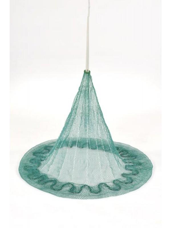 Wurfnetz nach jugosl. Art, 7 m Umfang, 15 mm Maschenweite, fangfertig montiert.