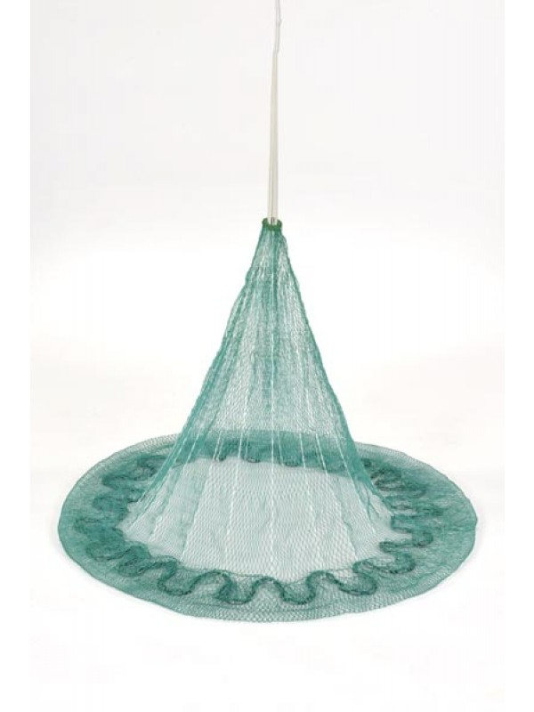 Wurfnetz aus Polyamid (Nylon) nach jugosl. Art, 7 m Umfang,  8 mm Maschenweite, fangfertig montiert.