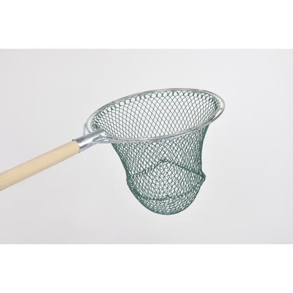 Reformkescherbügel kompl. mit Netz, rund, 40 cm Durchmesser, ca. 40 cm Netztiefe, 15 mm Maschenweite, aus Polyamid (Nylon) 210/30, Bügel aus verzinktem Stahl.