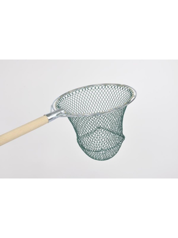 Reformkescherbügel kompl. mit Netz, rund, 30 cm Durchmesser, ca. 30 cm Netztiefe, 15 mm Maschenweite, aus Polyamid (Nylon) 210/30, Bügel aus verzinktem Stahl.