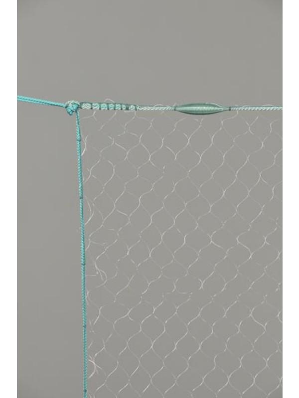 Monofil-Kiemennetz, 25 mm Maschenweite, 2,0 m tief, fangfertig montiert.
