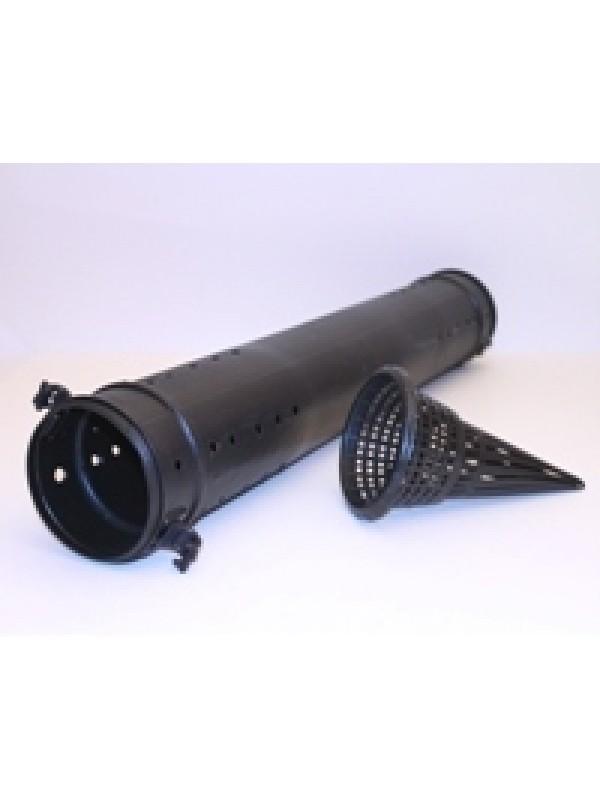Aalrohr mit 2 Eingängen, 75 cm lang, 12 cm Durchmesser, in schwarz.