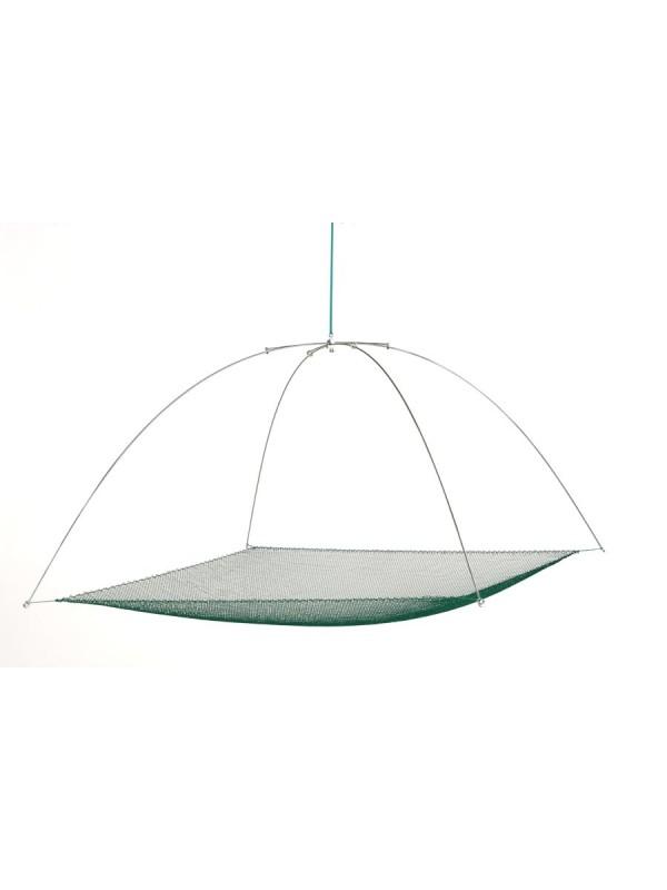 Tauchhamen, Senke oder Daubel komplett 1,25 m x 1,25 m, 15 mm Maschenweite. Set bestehend aus Bügel und Netz.