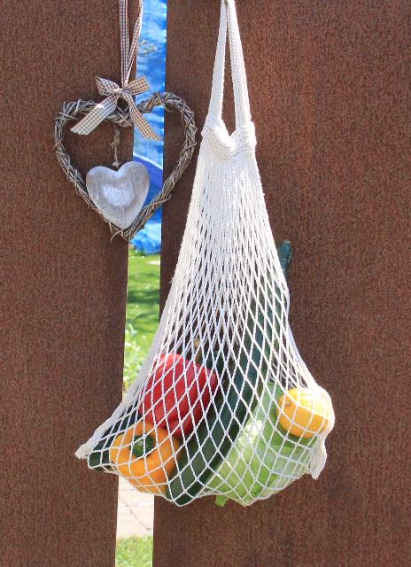 Einkaufsnetz aus Baumwolle, Henkel kurz