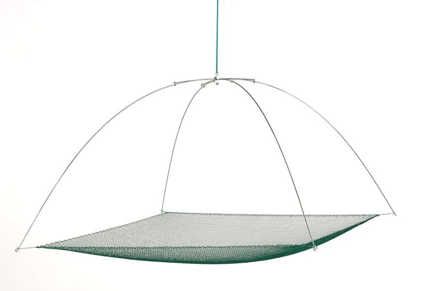 Tauchhamen, Senke oder Daubel komplett 1,25 m x 1,25 m, 05 mm Maschenweite. Set bestehend aus Bügel und Netz.